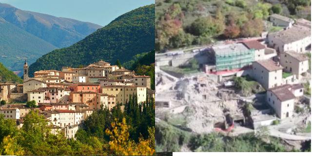 Terremoto, com'erano prima e come sono oggi i paesi colpiti in 6 scioccanti immagini