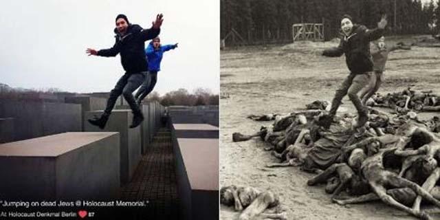 """""""Basta selfie sui luoghi della Shoah"""": 10 fotomontaggi che fanno riflettere"""