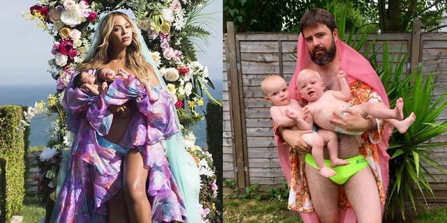 I genitori ricreano le foto di maternità di Beyoncé e questo è il risultato