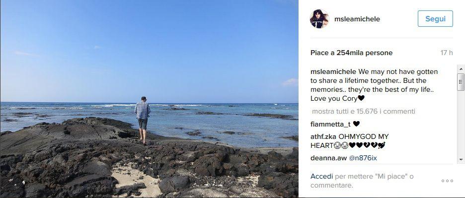 Lea Michele e le dediche di amore (oltre la morte) a Cory Monteith