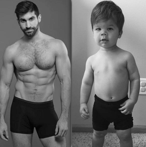 Addominali vs Rotolini dolcissimi: il nipotino ricrea le foto in posa dello zio