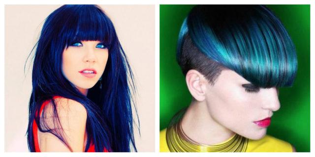 Colore capelli riflessi blu
