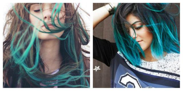shatush blu su capelli castani